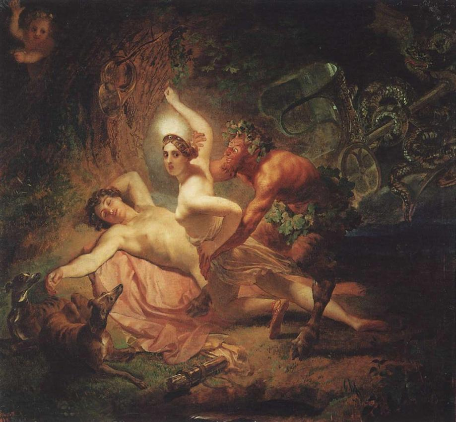 Diana, Endymion and the Satyr by Karl Bryullov (1849). It is widely believed that this was the painting that inspired Petipa to choreograph the Pas de Diane