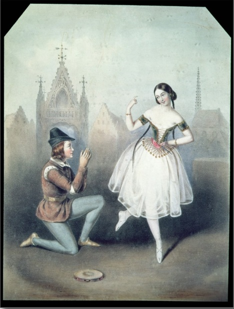 Carlotta Grisi as Esmeralda and Jules Perrot as Pierre Gringoire (1844)