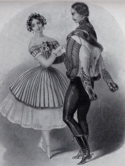 Carlotta Grisi as Paquita and Lucien Petipa as Lucien d'Hervilly (1844)