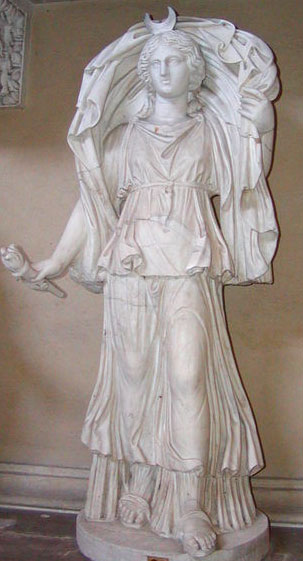 Statue of Selene/Luna, the Titan Goddess of the Moon at the Pio Clementino Museum, Vatican City