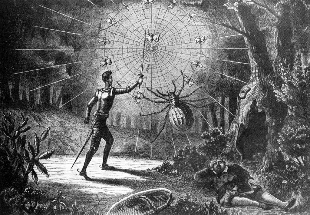 Don Quixote fights the giant spider (1869)