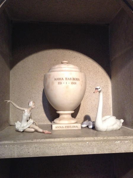 Anna Pavlova's urn at Golders Green Crematorium