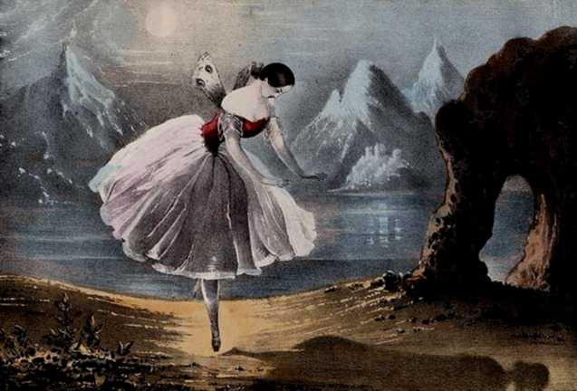Lithograph of Fanny Cerrito as Ondine in the Pas de l'Ombre (1843)
