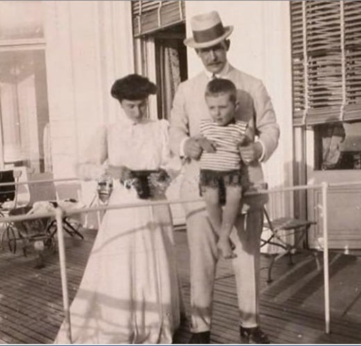 Matilda Kschessinskaya, Grand Duke Andrei Vladimirovich and their son Vova in France (ca. 1908)
