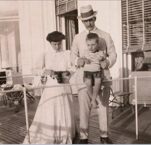 Matilda Kschessinskaya, Grand Duke Andrei Vladimirovich and their son Vova in France (ca. 1908)