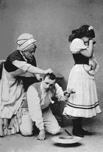 Grigory Riabtzev as Widow Simone, Mikhail Mordkin as Colas and Sofia Fedorova as Lise (1899)
