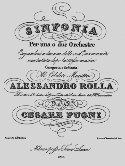 Frontispiece of the complete score for Pugni's Sinfonia por una o due orchestre (ca. 1830)