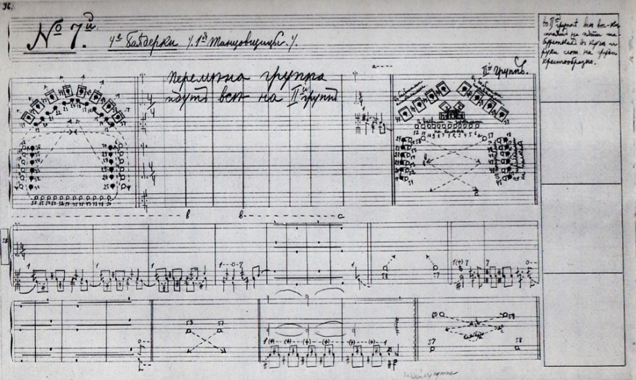 A page of the choreographic notation for La Bayadere from the Sergeyev Collection