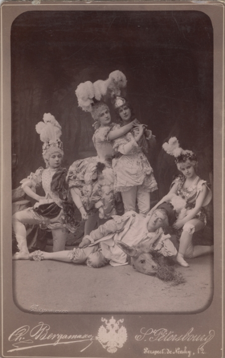 Maria Anderson as Puck, Anna Johansson as Titania, Marie Petipa as Oberon, Timofei Stukolkin as Bottom and Natalia Matveyevna as the Robin (1889)