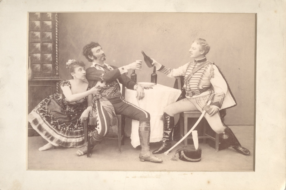 Maria Gorshenkova as Paquita, Felix Kschessinsky as Inigo and Pavel Gerdt as Lucien d'Hervilly (1892)