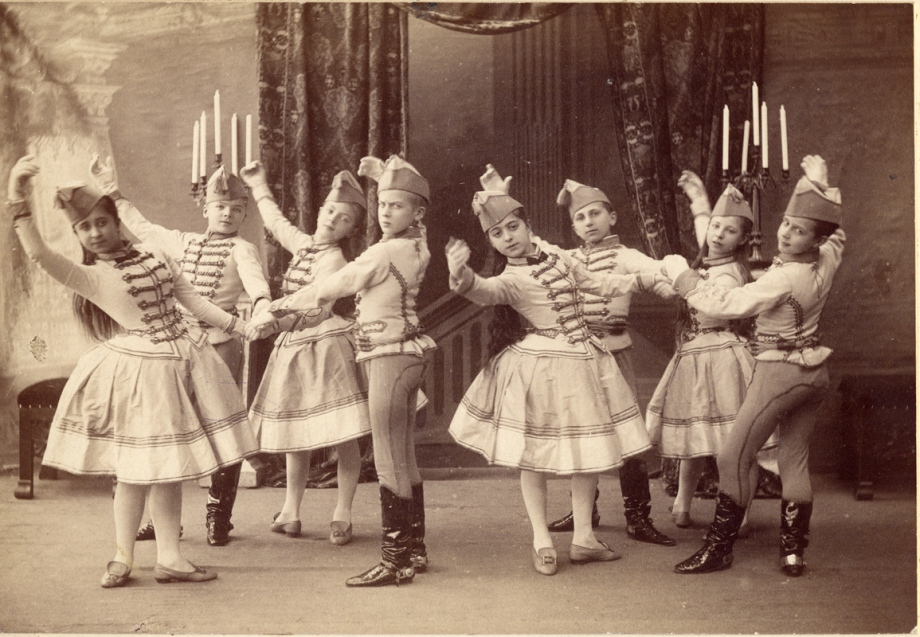 Students from the Imperial Ballet School in the Mazurka des Enfants; on the far right is a young Mikhail Fokine (1893)