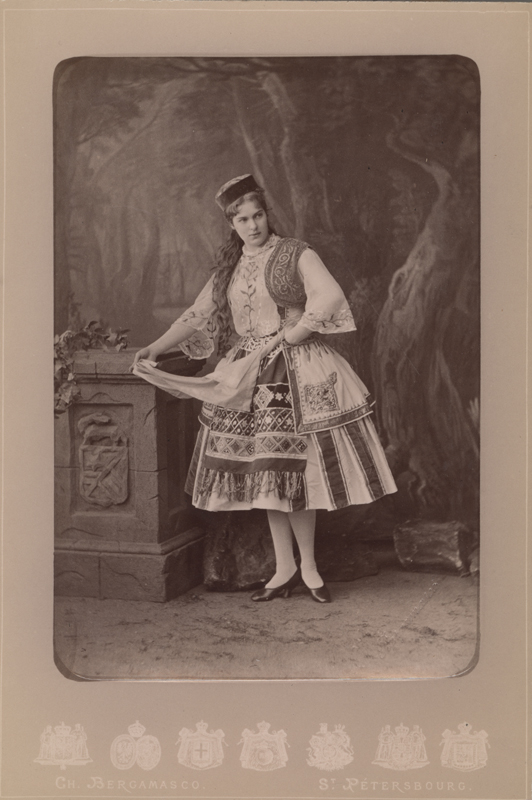 Marie Petipa as Zoya, Roxana's friend (1878)