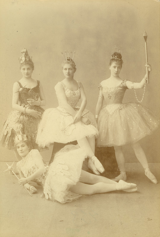 Precious Jewels Pas de quatre - on the left: Claudia Kulichevskaya as the Gold Fairy, in the centre: Anna Johansson as the Diamond Fairy, on the right: Maria Tristova as the Sapphire Fairy and lying down: Elsa Krueger as the Silver Fairy (1890)