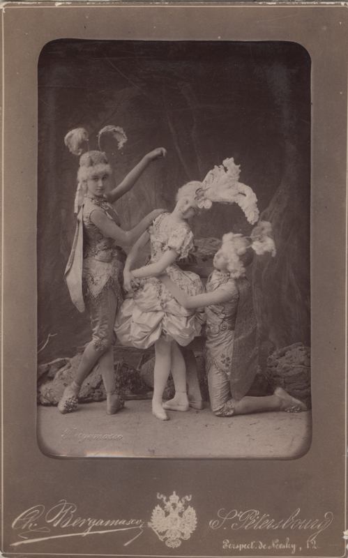 Vera Trefilova as a Butterfly and pupils of the Imperial Ballet School as grasshoppers (1889)