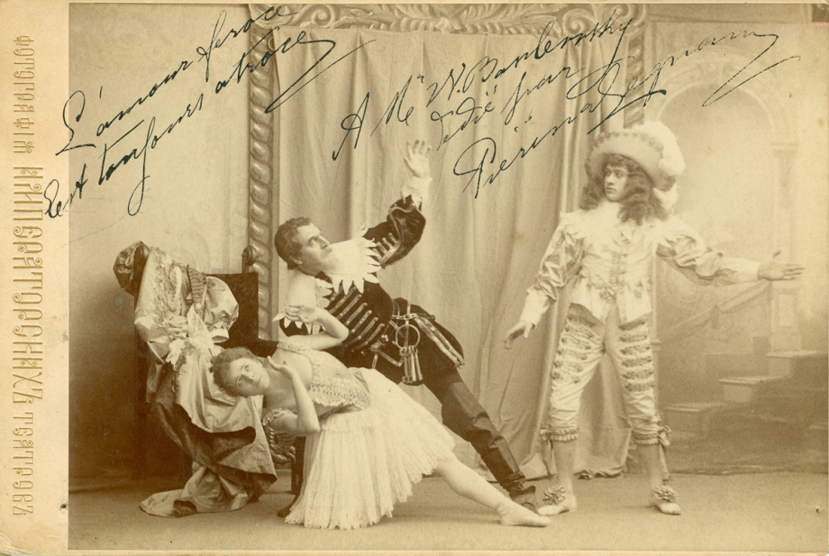 Pieirna Legnani as Ysaure, Pavel Gerdt as Bluebeard and Sergei Legat as Arthur (1896)