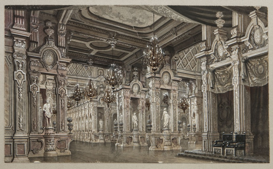 Decor for the throne room of Act 2 by Matvey Shishkov (1893)