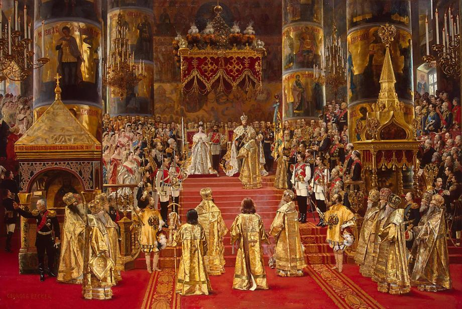The coronation of Tsar Alexander III and Tsarina Maria Fedorovna by G. Becker (1888)