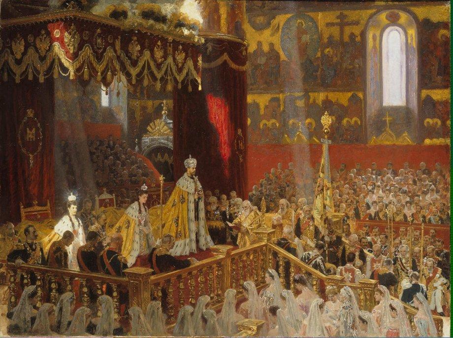The coronation of Tsar Nicholas II and Tsarina Alexandra in 1896 by L. Tuxen (1898)