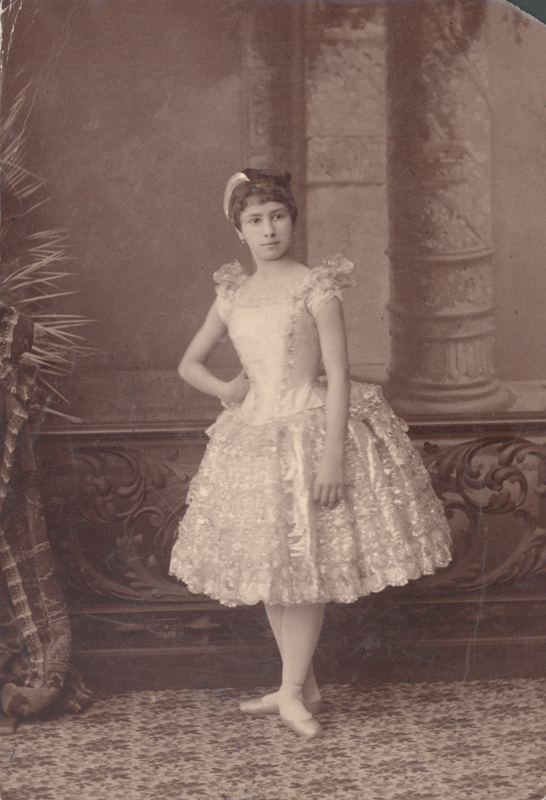 Matilda Kschessinskaya, then a student of the Imperial Ballet School, in the Dance of the Silver Lace (1886)