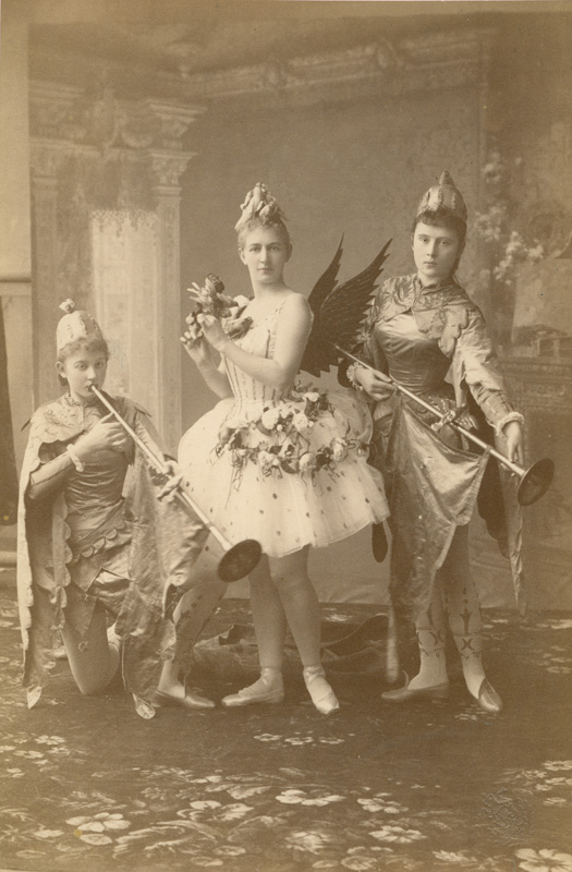Anna Johannson as the Fairy Candide qui chante with Olga Kiel and Anna Urakova as her pages (1890)