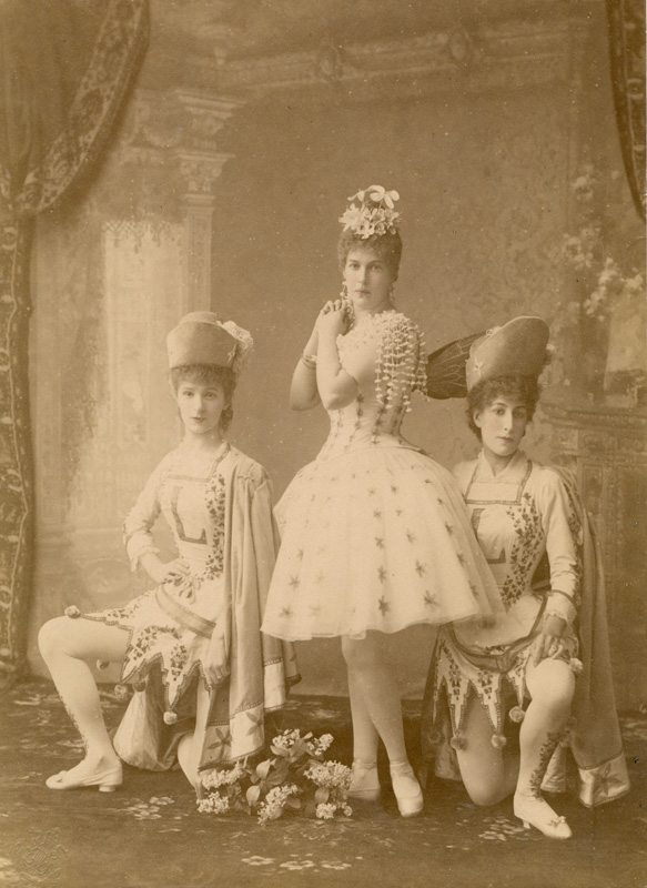 Marie Petipa as the Lilac Fairy with Maria Egorova and Julia Kschessinskaya as her pages (1890)