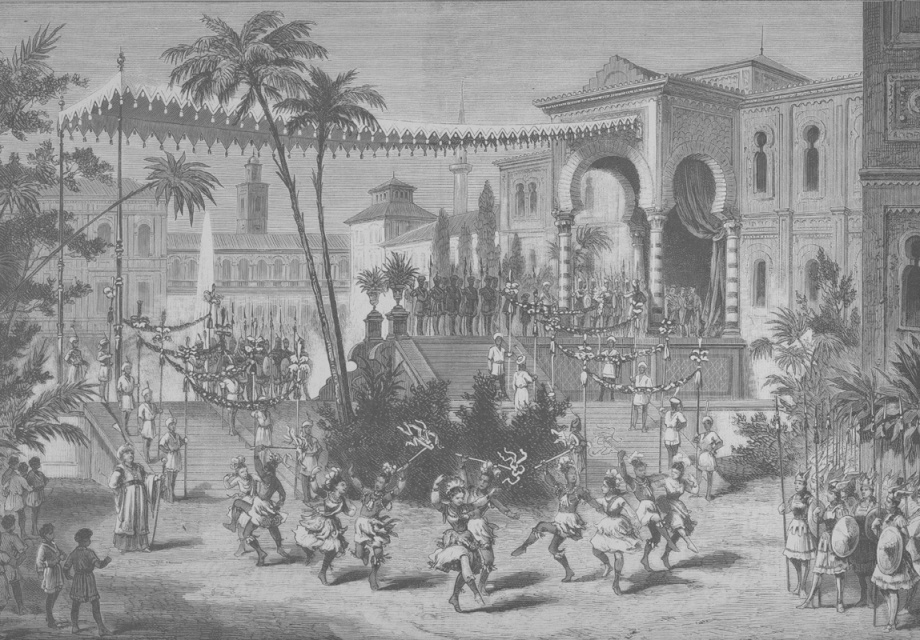 Lithograph of Act 3, scene 7 - the Caliph announces Soliman and Zoraiya's betrothal. Engraving after a drawing by (Karl) Arnold Baldiner (1882)