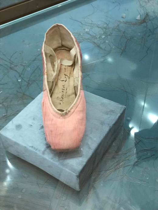 Autographed pointe shoe of Pierina Legnani on display as part of the Petipa Exhibition at the Theatre Museum, Saint Petersburg (2018)
