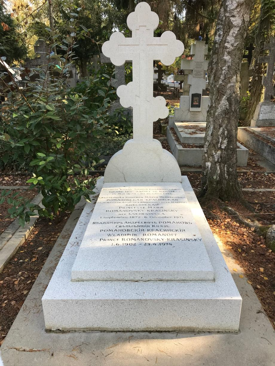 Matilda Kschessinskaya's grave in the Russian Orthodox Cemetery of Sainte-Genevieve-des-Bois, Paris (2018)