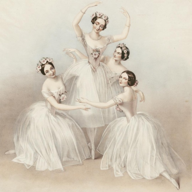 Lithograph of the Pas de Quatre (1845) - from left to right: Carlotta Grisi, Marie Taglioni, Lucille Grahan and Fanny Cerrito