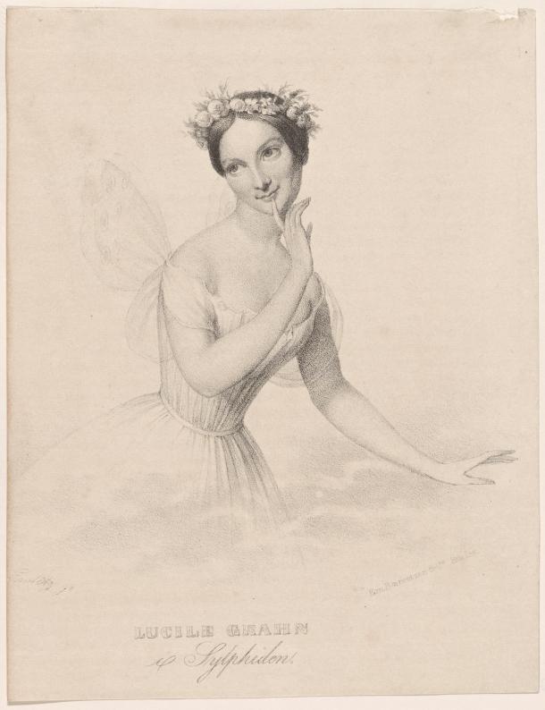 "Lucile Grahn as the Sylph in Bournonville's ""La Sylphide"" - lithography by Emilius Ditlev Baerentzen (1836)"