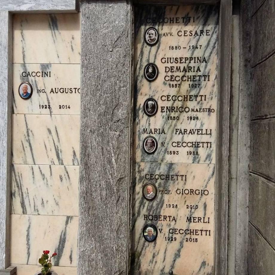 Enrico Cecchetti's grave at Quarna Sotti (2017)