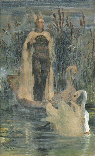 """Lohengrin"" by Walter Crane (1895), Wagner's opera was a possible source of inspiration for the libretto of ""Swan Lake"""