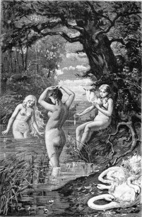 The Three Swan Maidens from the Völundarkviða - these mythical maidens appear mostly in Germanic mythology and are known for shapeshifting from human form to swan form by use of their magic swan skins