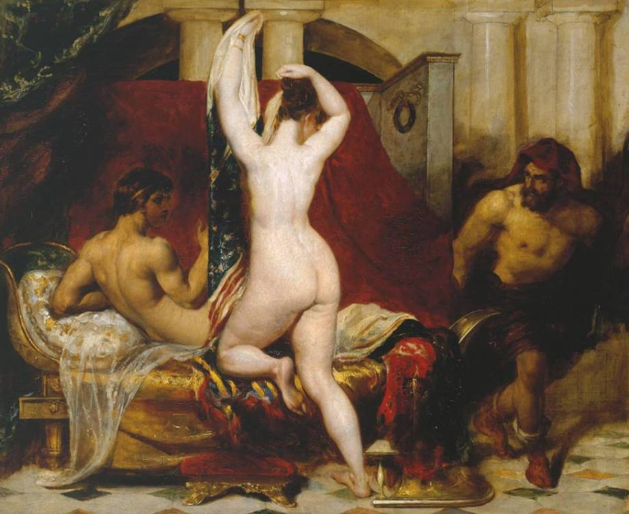 Candaules, King of Lydia, Shews his Wife by Stealth to Gyges, One of his Ministers, as She Goes to Bed by William Etty (1830)
