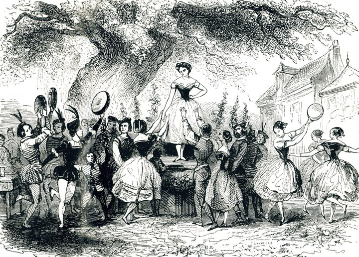 Lithograph: Giselle is crowned as Queen of the Vintage (1845)