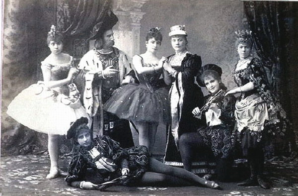 The cast of Act 1 of The Sleeping Beauty, with Maria Skorsiuk on the far left as one of the Young Maidens (1890)